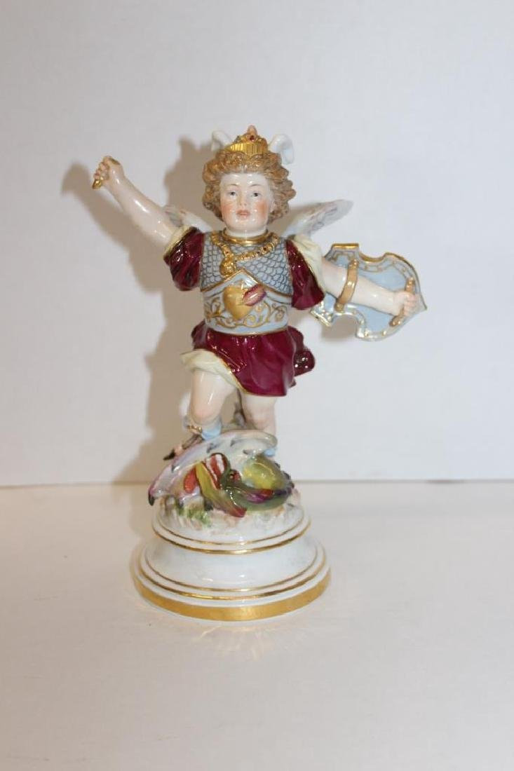 Early Meissen Winged Figure on a Serpant