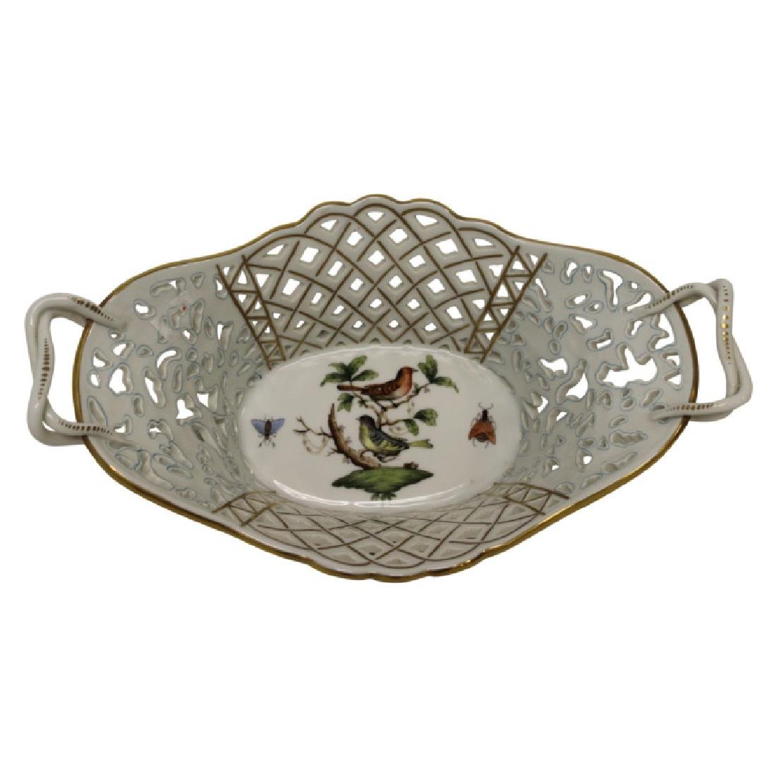 Herend Porcelain Handled Basket