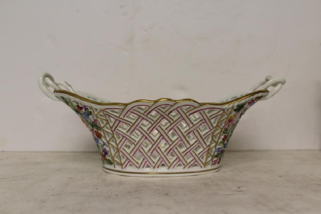 Herend Porcelain Handled Basket - 4