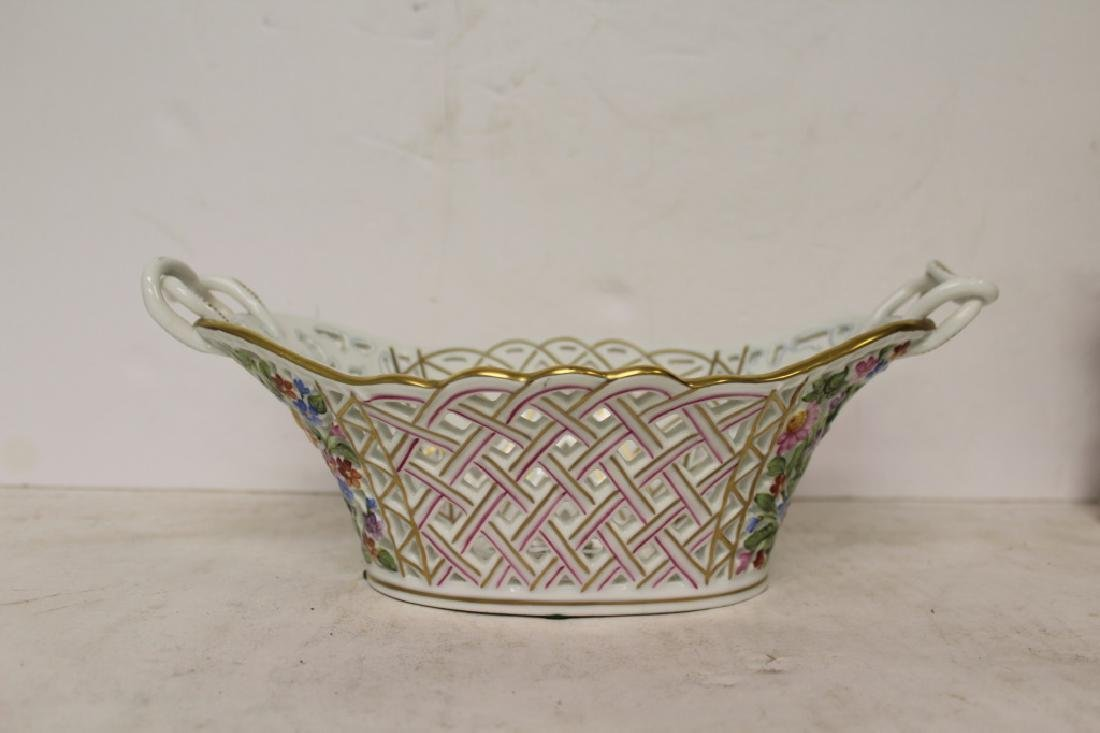 Herend Porcelain Handled Basket - 6