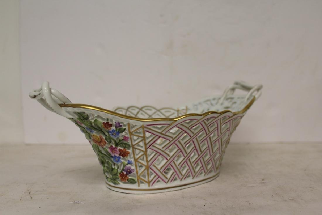 Herend Porcelain Handled Basket - 8