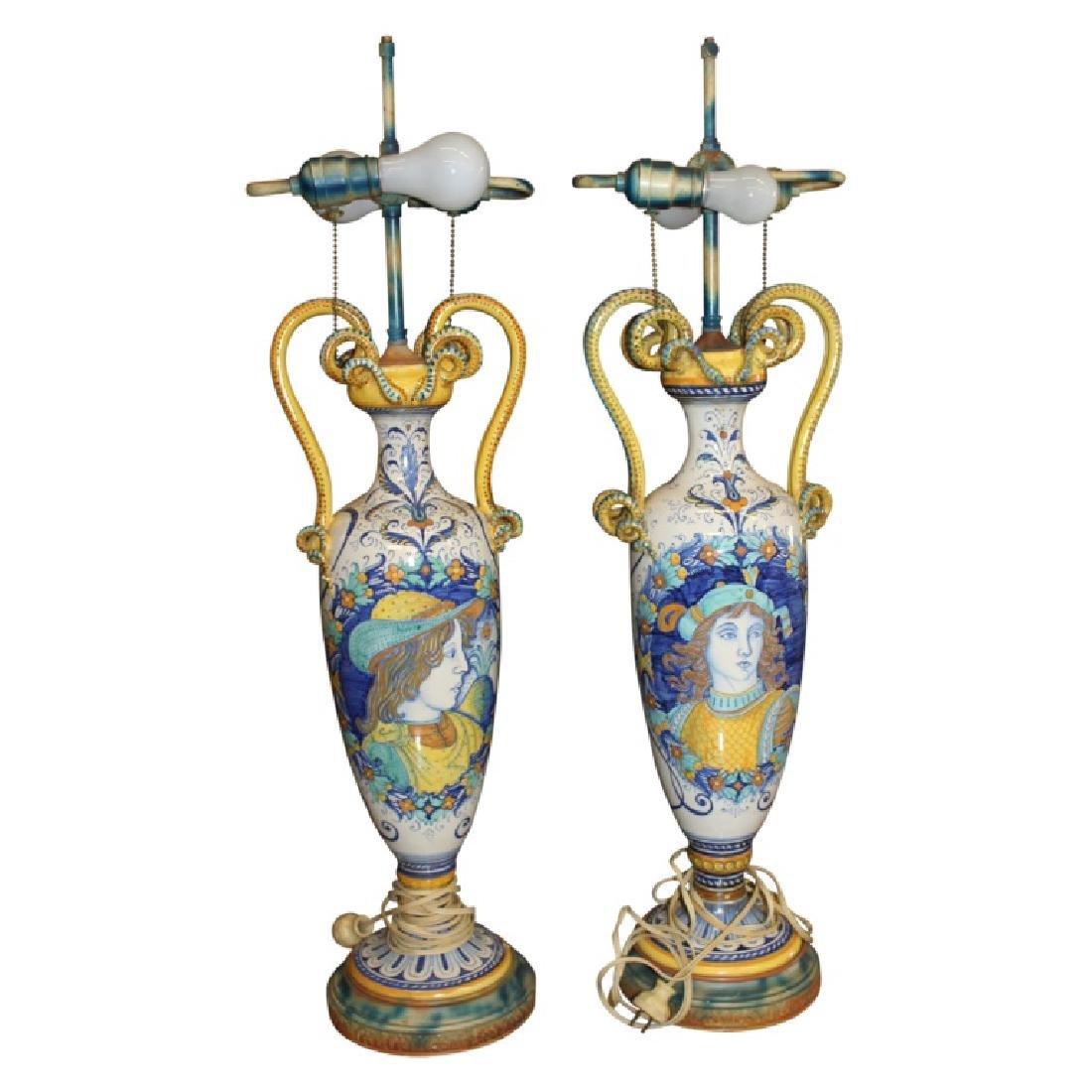 Pair of Porcelain Handled Lamps