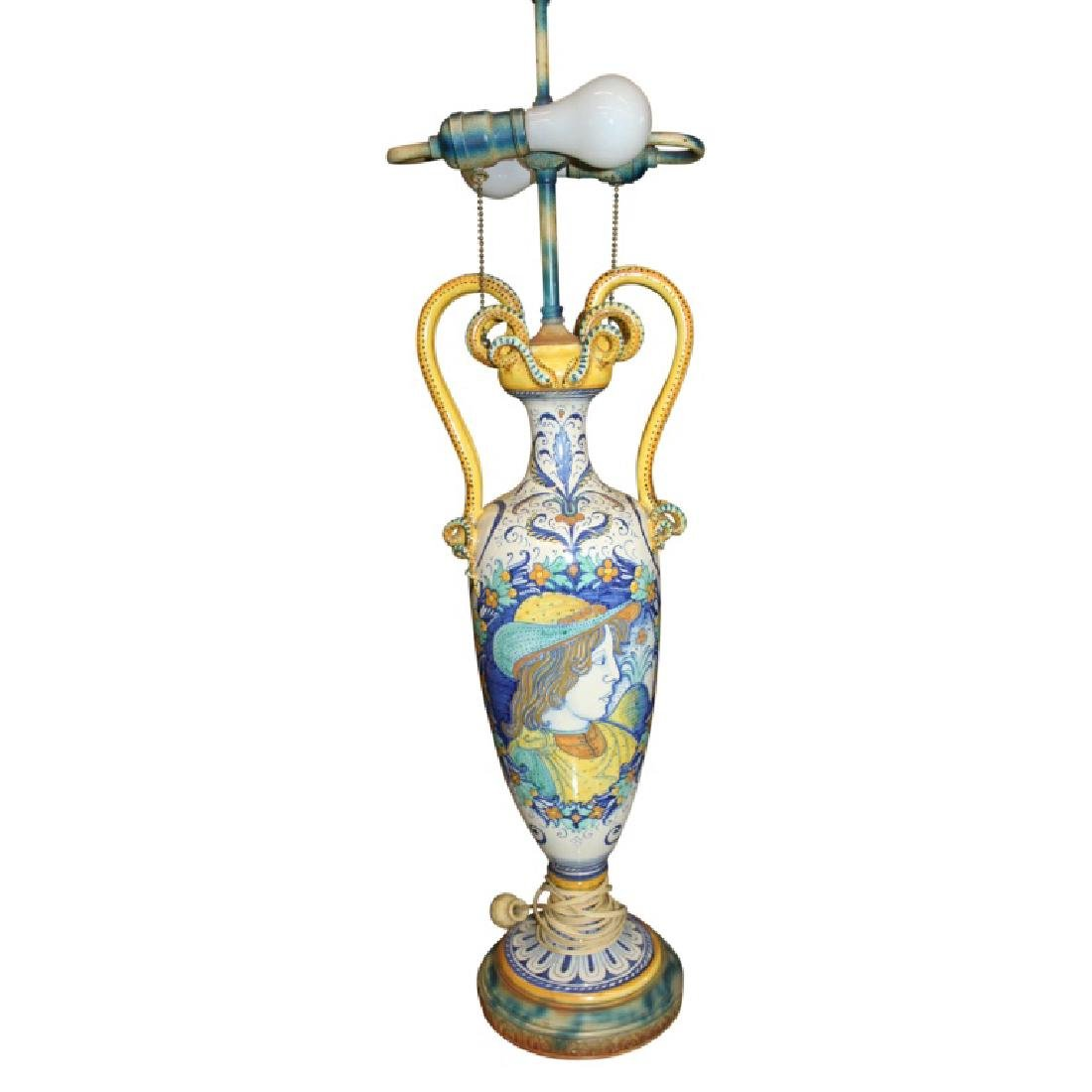 Pair of Porcelain Handled Lamps - 3