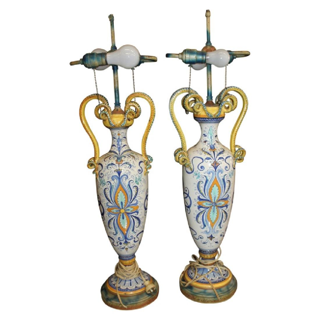 Pair of Porcelain Handled Lamps - 9