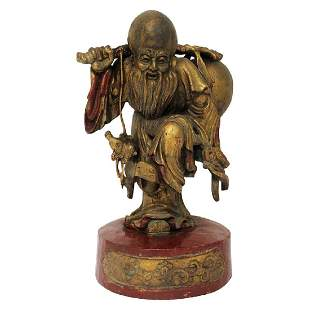 Asian Wood Carving of a Man