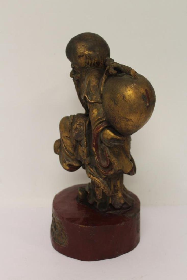 Asian Wood Carving of a Man - 4