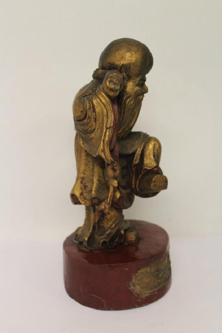 Asian Wood Carving of a Man - 6