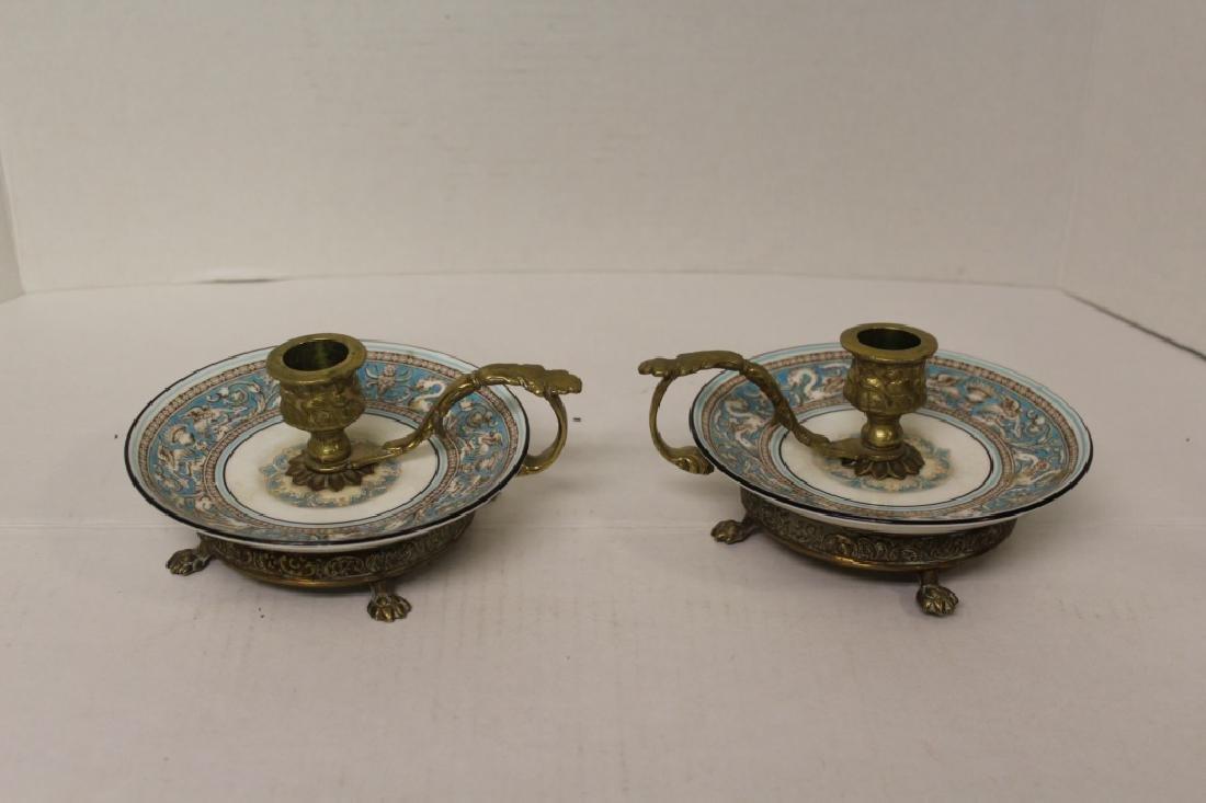 Brass and Porcelain Candlesticks