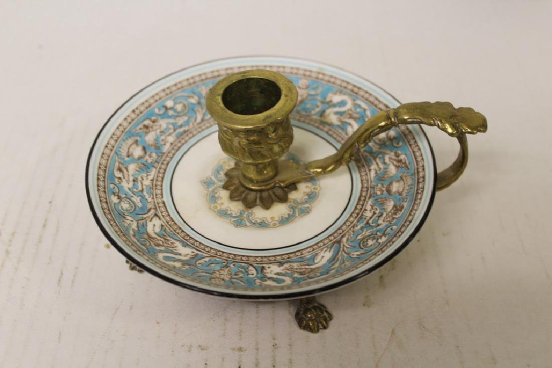 Brass and Porcelain Candlesticks - 2