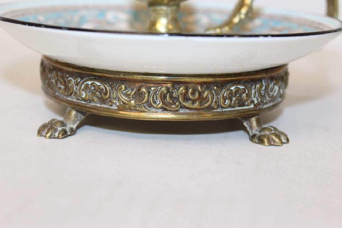 Brass and Porcelain Candlesticks - 4