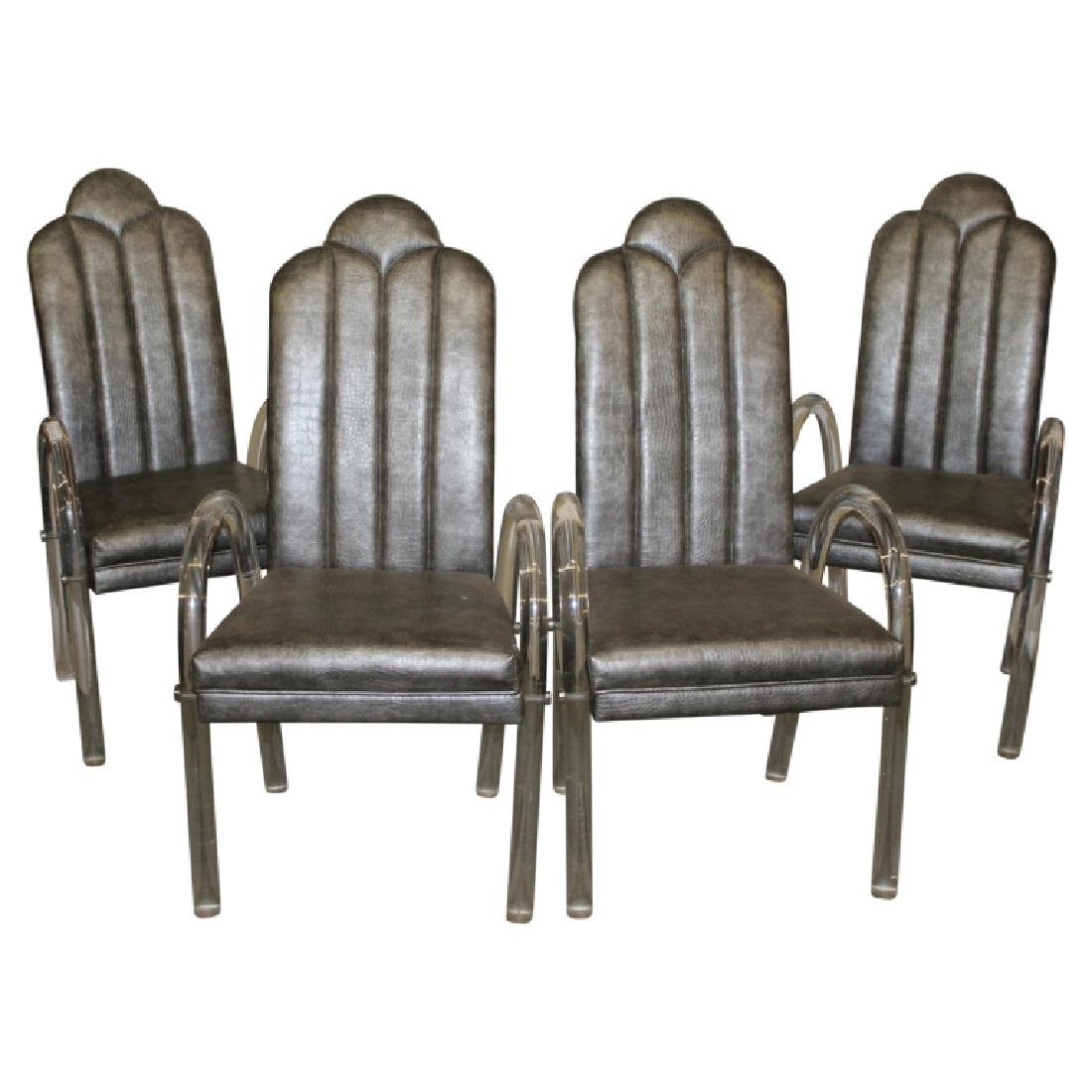 4 Mid Century Modern Lucite Upholstered Chairs
