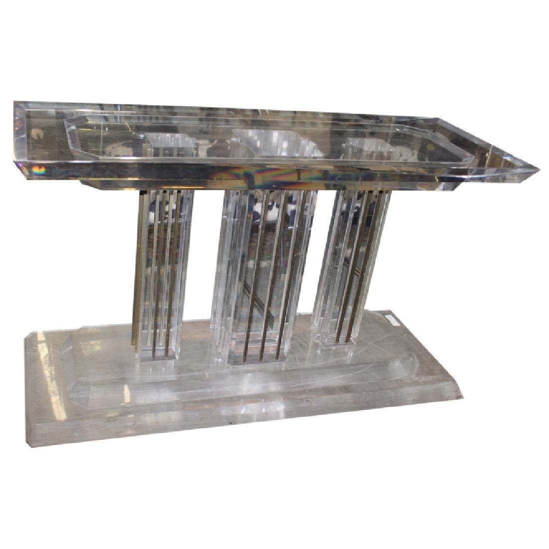 Lucite Skyscraper Sofa Table