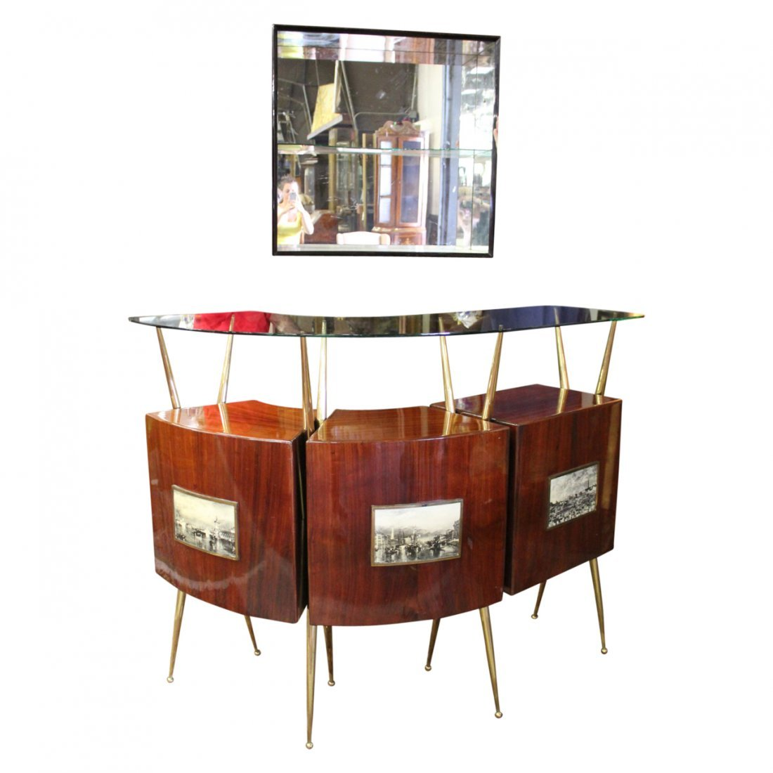 Gio Ponti Style Bar w/ Liquer Display Unit