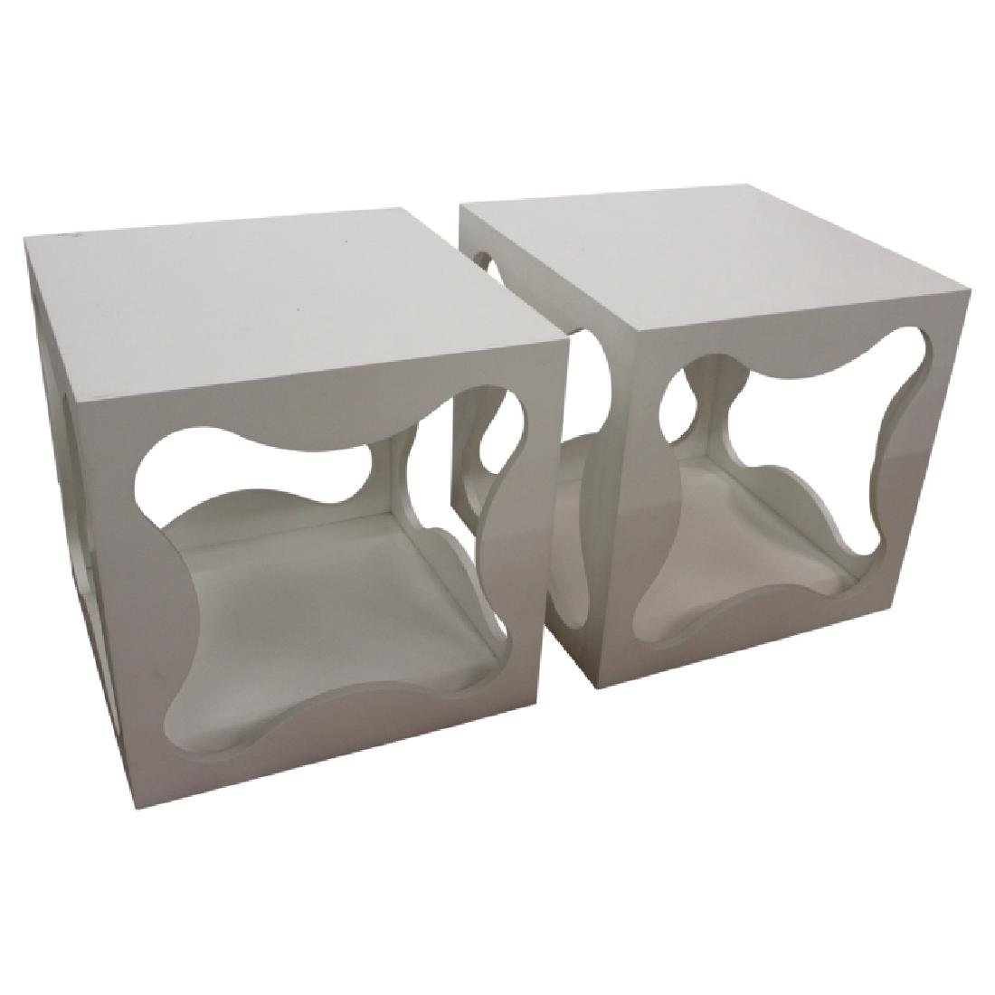 Pair of Modern Square Table Cubes