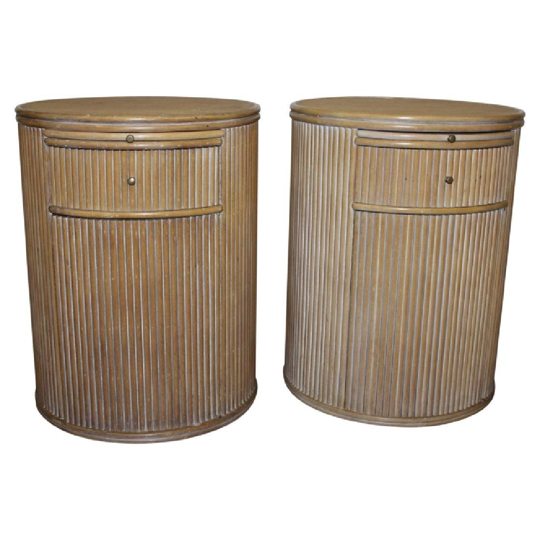 PAIR OF MID-CENTURY, CERUSED, OAK, ROUND SIDE TABLES