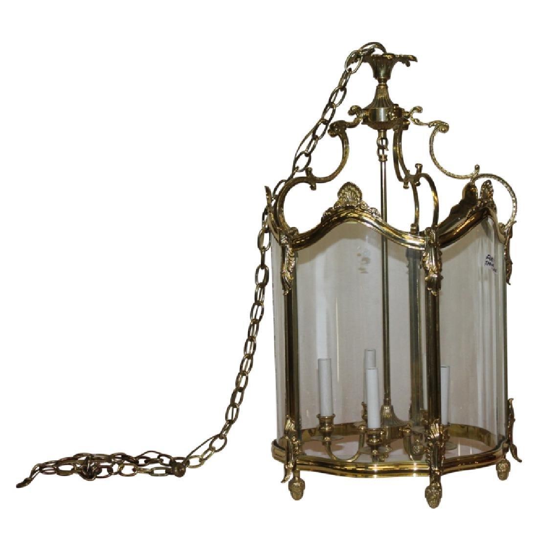 Gold Frame Glass Chandelier