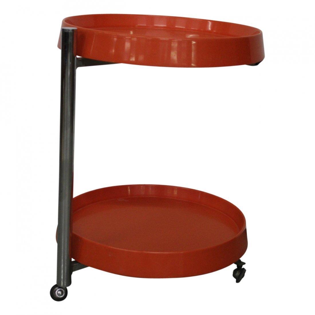 Italian Modern Orange and Chrome End Table