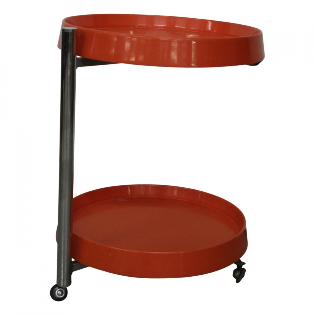 Italian Modern Orange and Chrome End Table