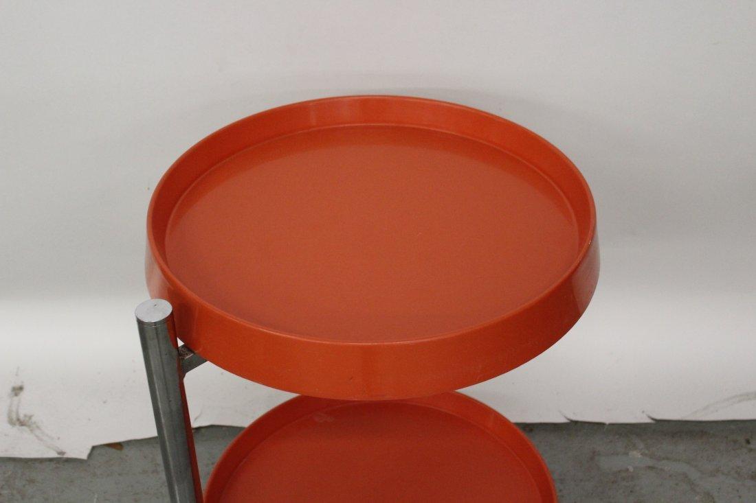 Italian Modern Orange and Chrome End Table - 2