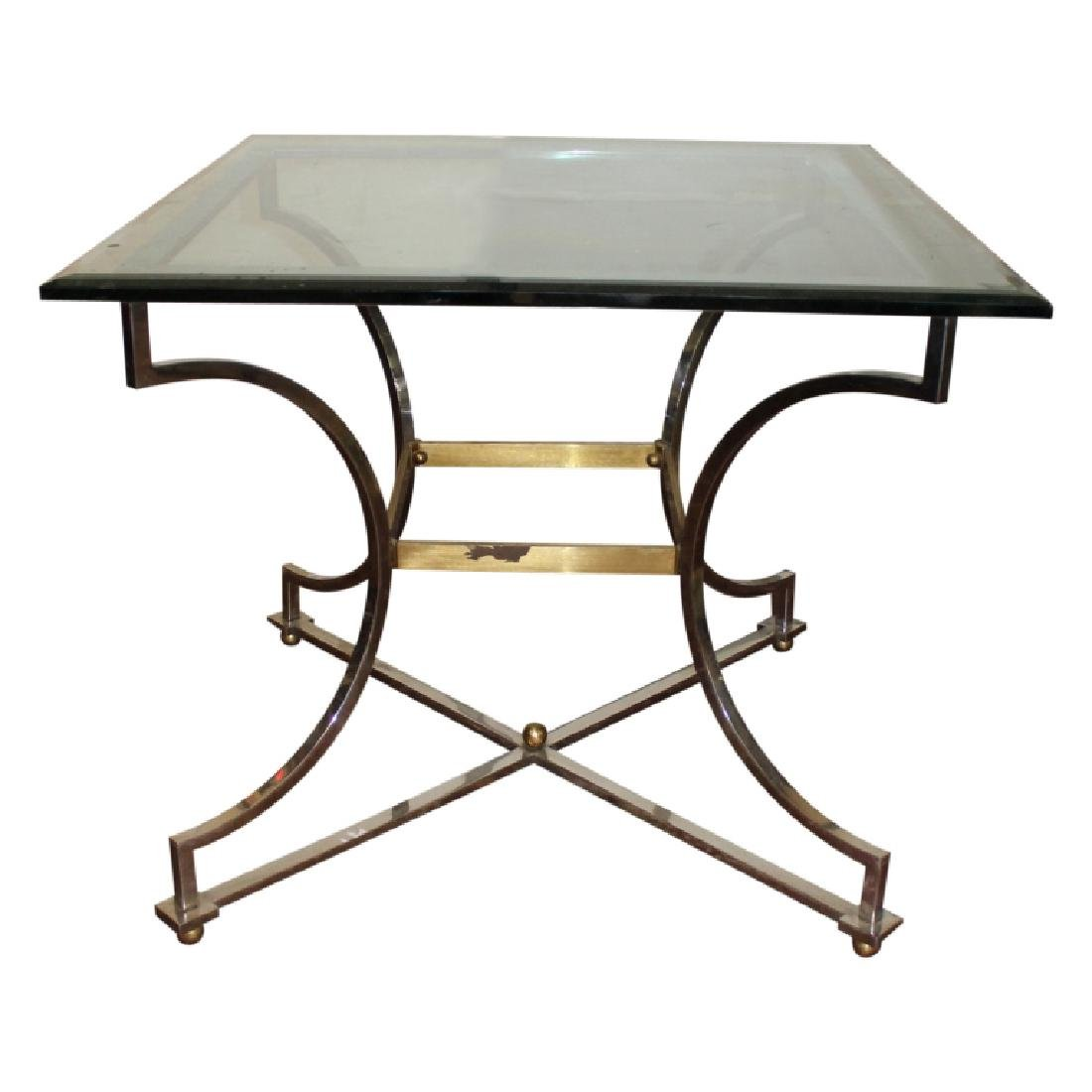 Silver and Gold Frame Double Bevel Glass Top Table