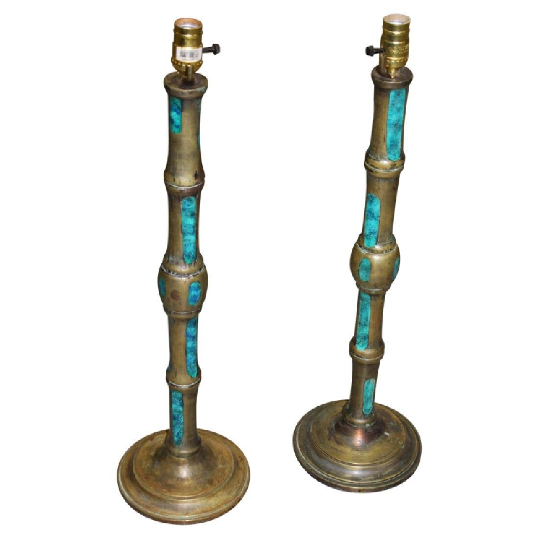 Pair of Art Deco Copper & Enamel Lamps