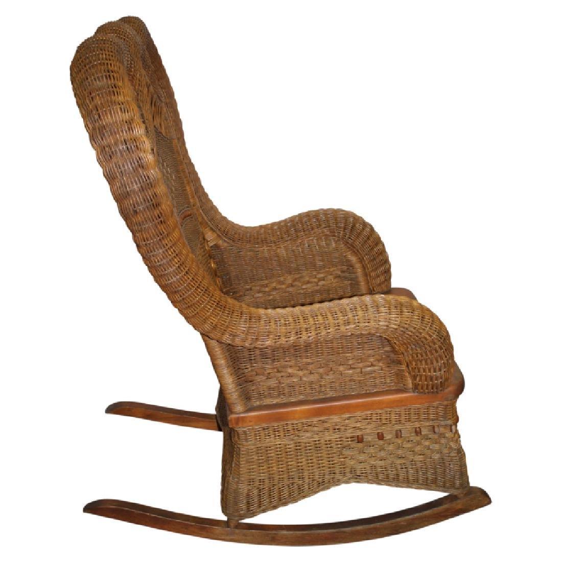Heywood Wakefield Wicker Style Rocking Chair - 3