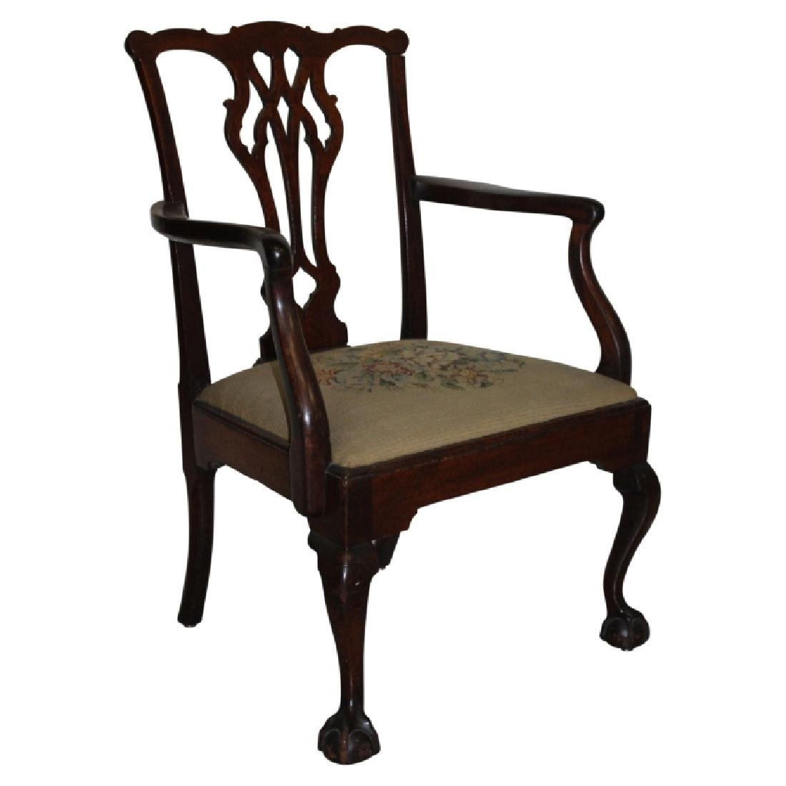 Antique Needlepoint Chippendale Armchair