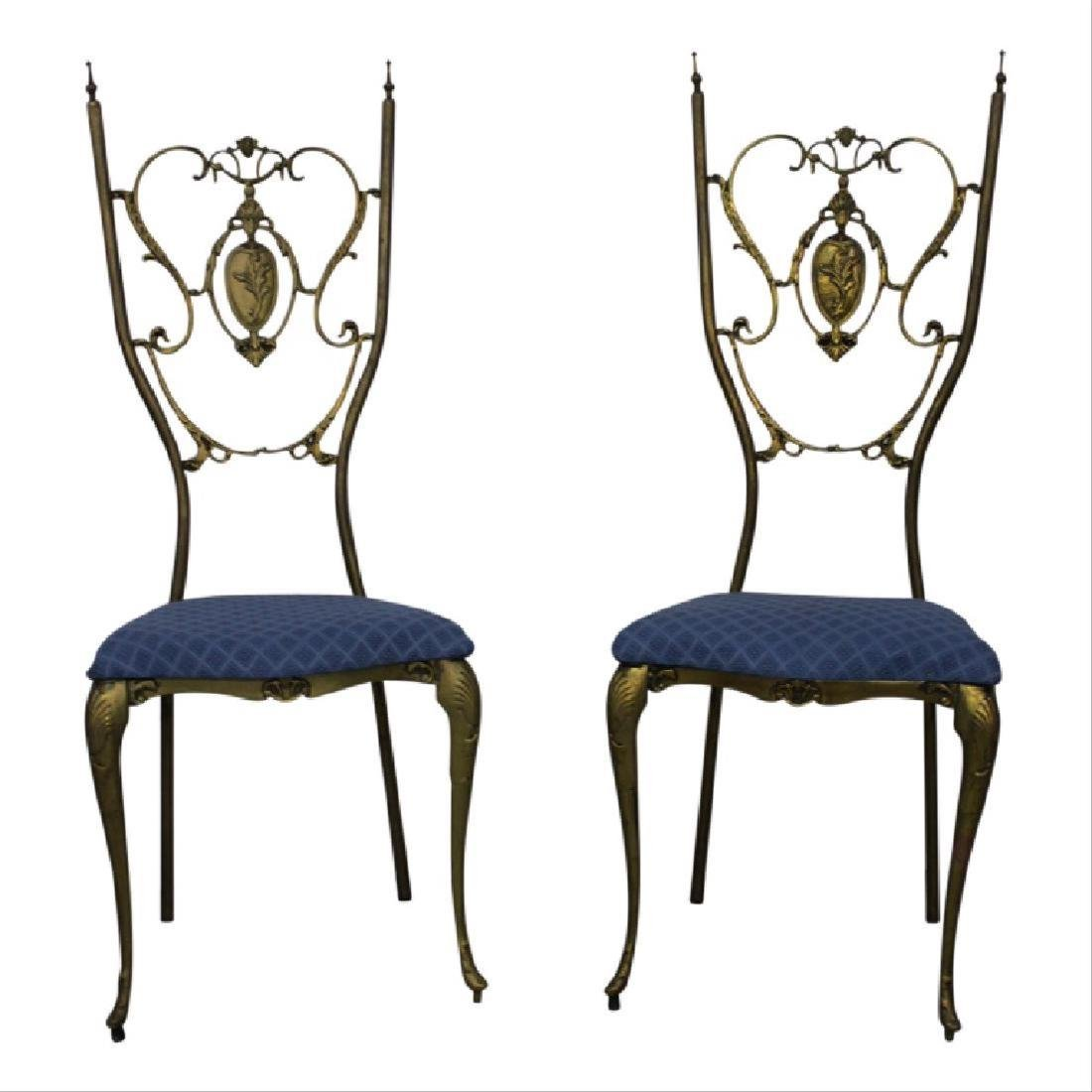Pair of Neoclassical Brass Chairs