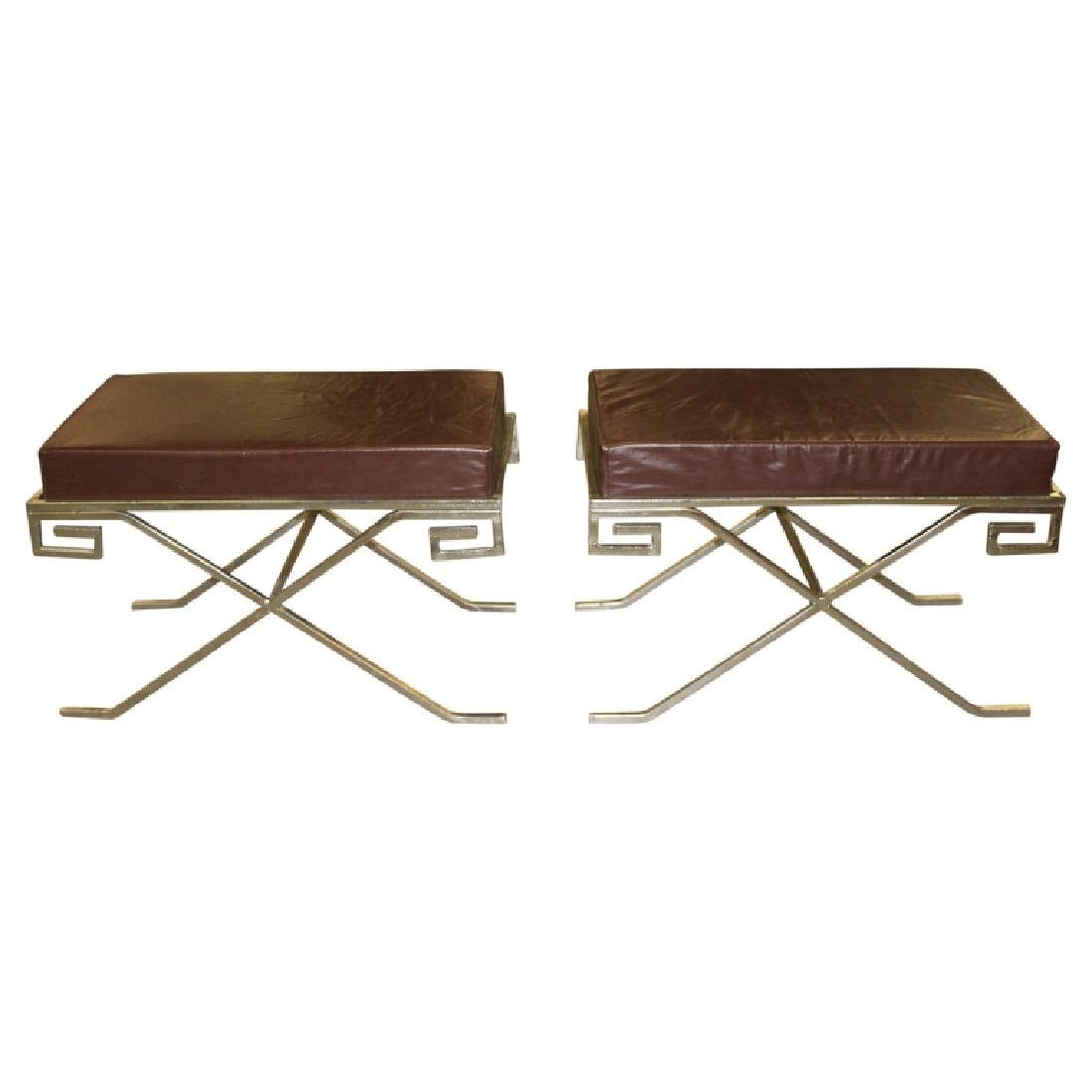 Pair of Designer Grecian Campaign Benches