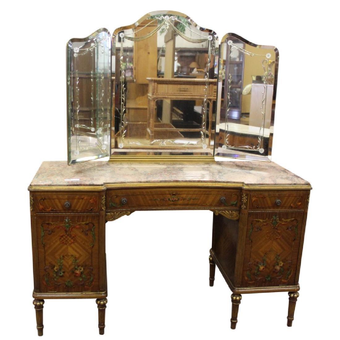 Louis XVI Style Marble Top Vanity w/ Key