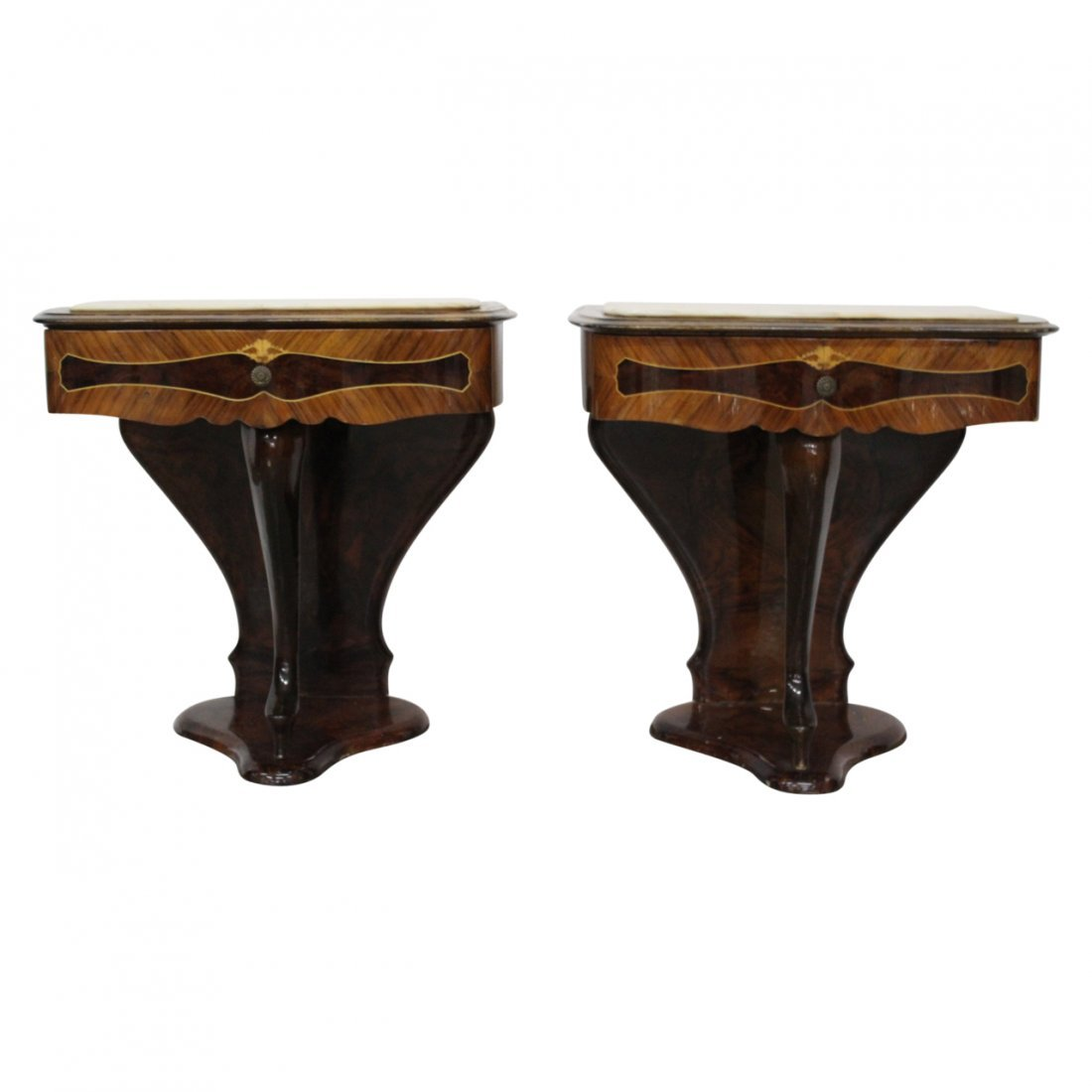 Pair of Italian Nouveau Marble Top Nightstands