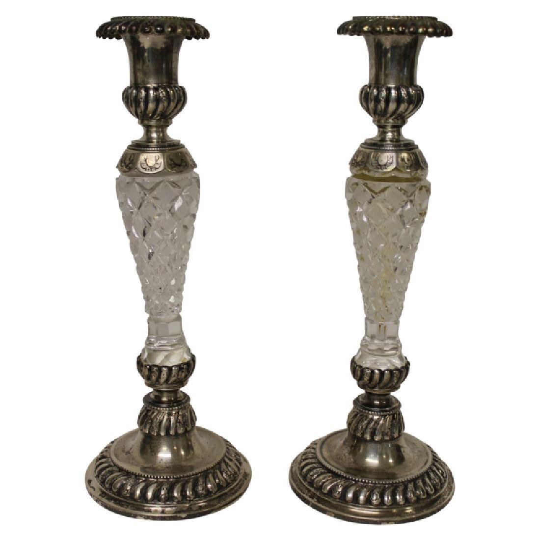 Pair of Hallmarked Sterling & Crystal Candlesticks