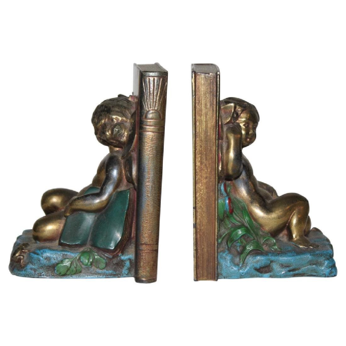 Pair of Bronze Cherub Bookends