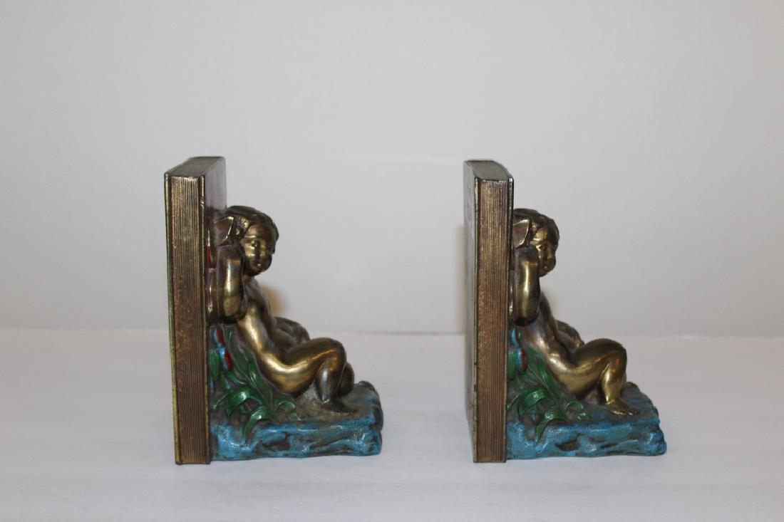 Pair of Bronze Cherub Bookends - 4