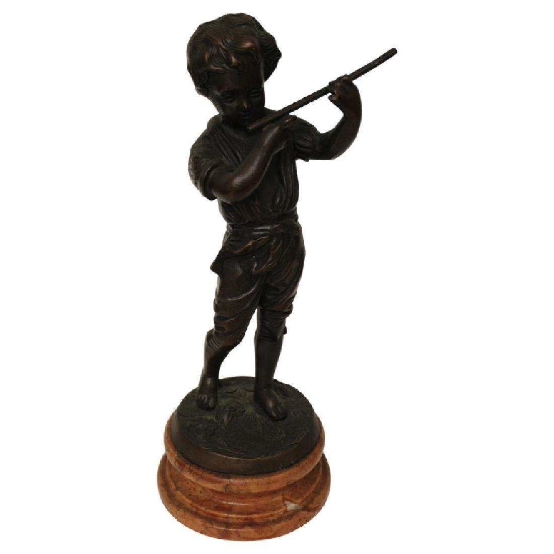 Bronze Boy Playing an Instrument on Marble Base
