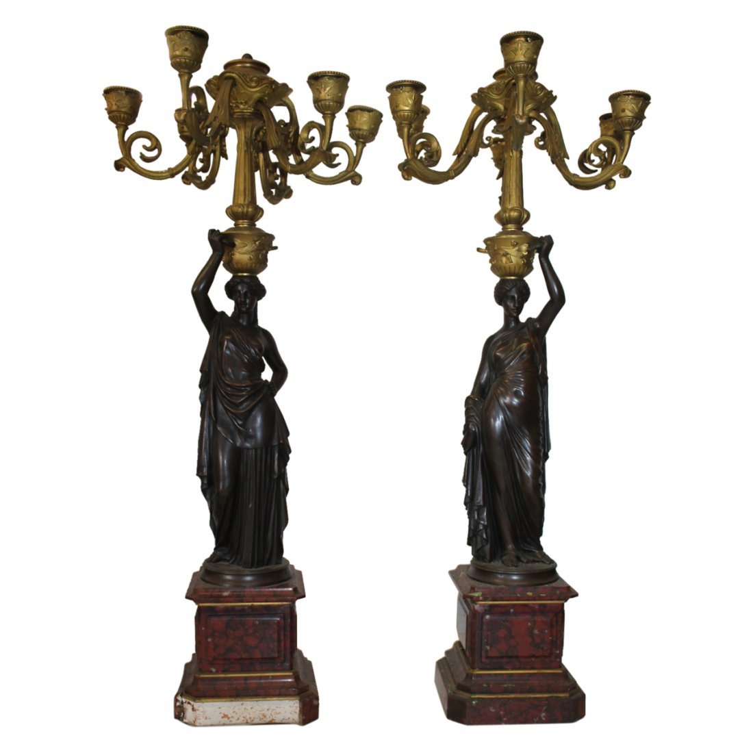 Pair of Bronze on Marble Figural Candelabras