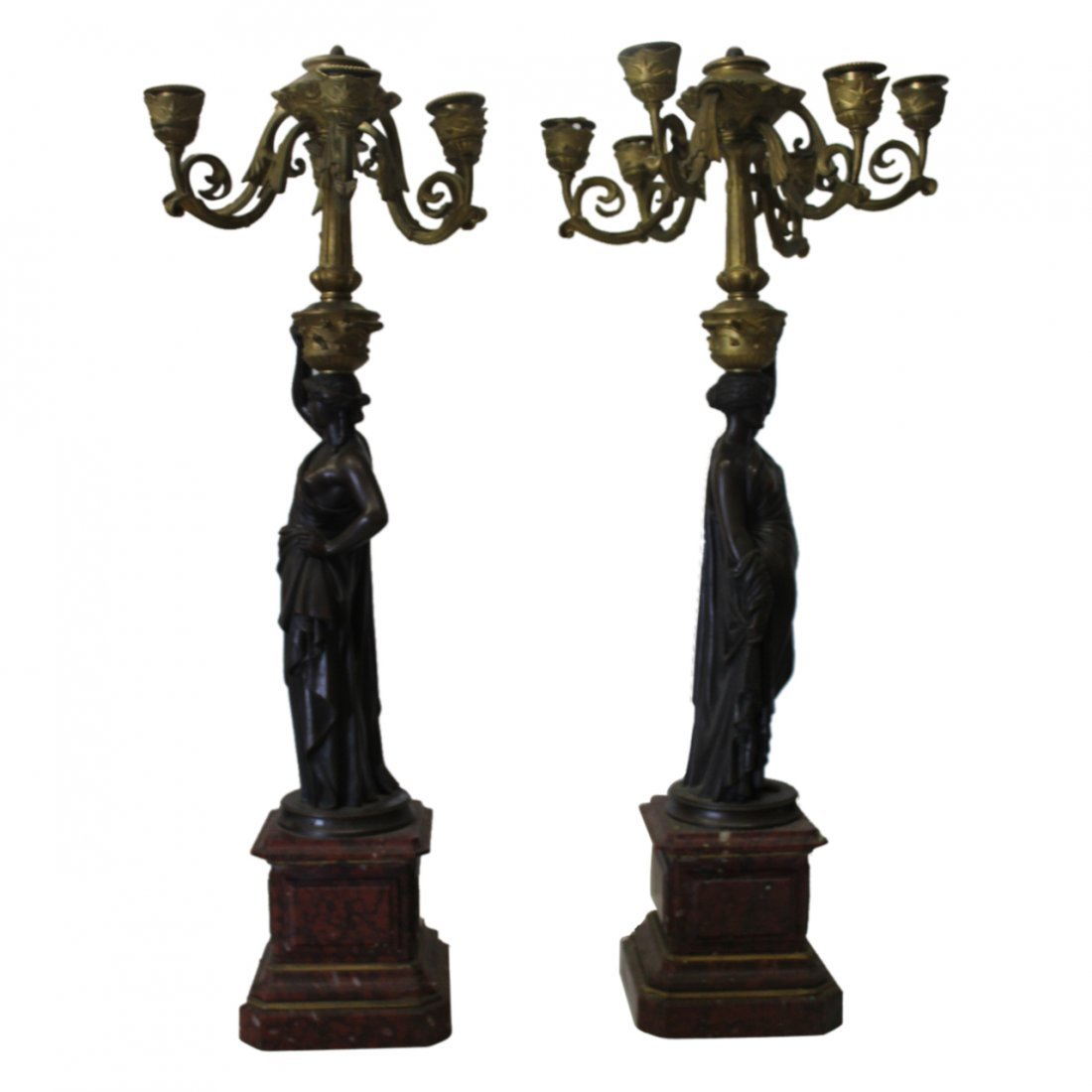 Pair of Bronze on Marble Figural Candelabras - 2