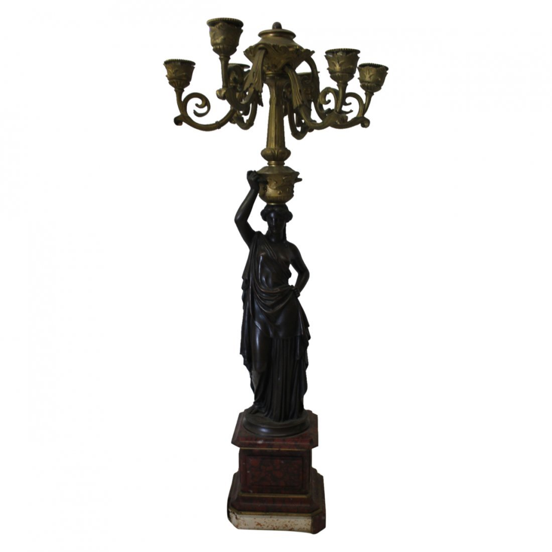 Pair of Bronze on Marble Figural Candelabras - 3