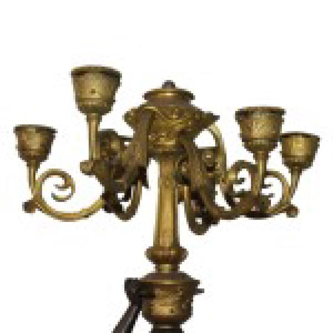 Pair of Bronze on Marble Figural Candelabras - 5