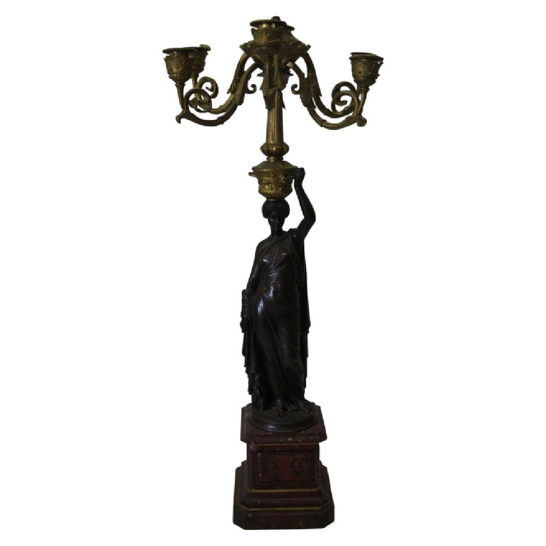 Pair of Bronze on Marble Figural Candelabras - 6