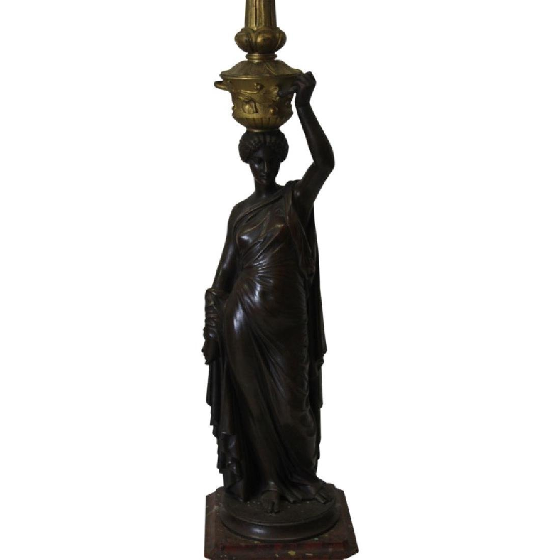 Pair of Bronze on Marble Figural Candelabras - 7