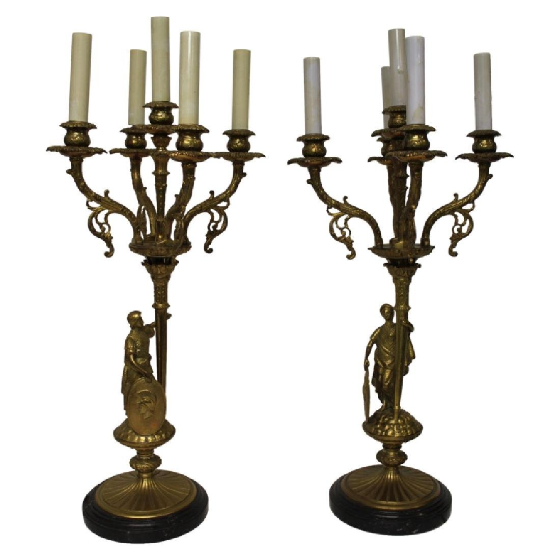 Pair of Bronze Candelabra Light Fixtures