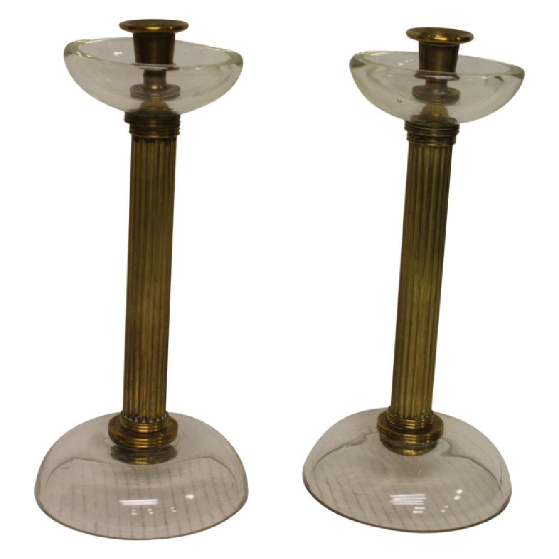 Pair of Brass  & Crystal Candlesticks