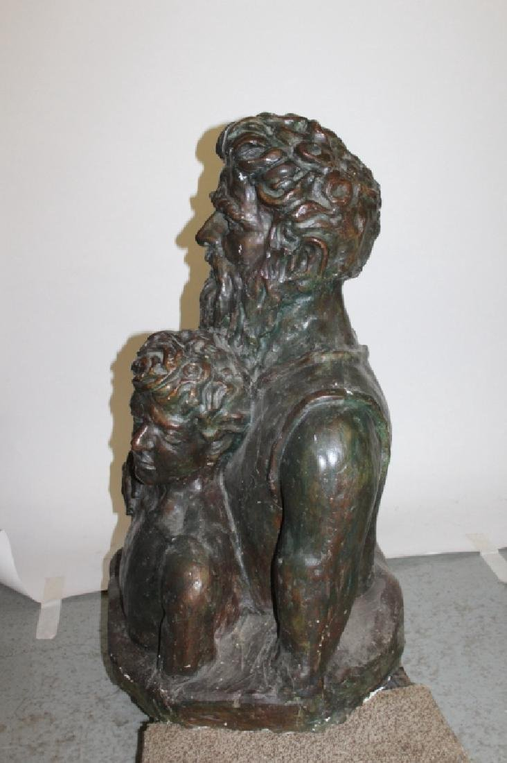 Large Pottery Sculpture of an Older Man and His Protégé - 5