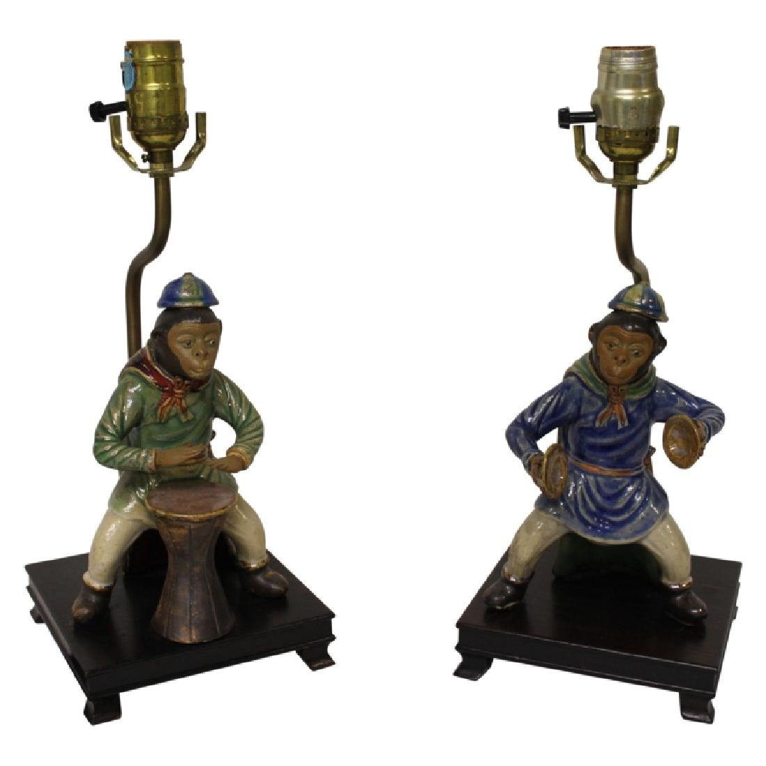 Pair of Chinoiserie Faience Monkey Light Fixtures