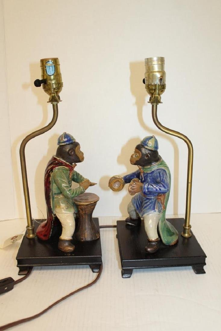 Pair of Chinoiserie Faience Monkey Light Fixtures - 4