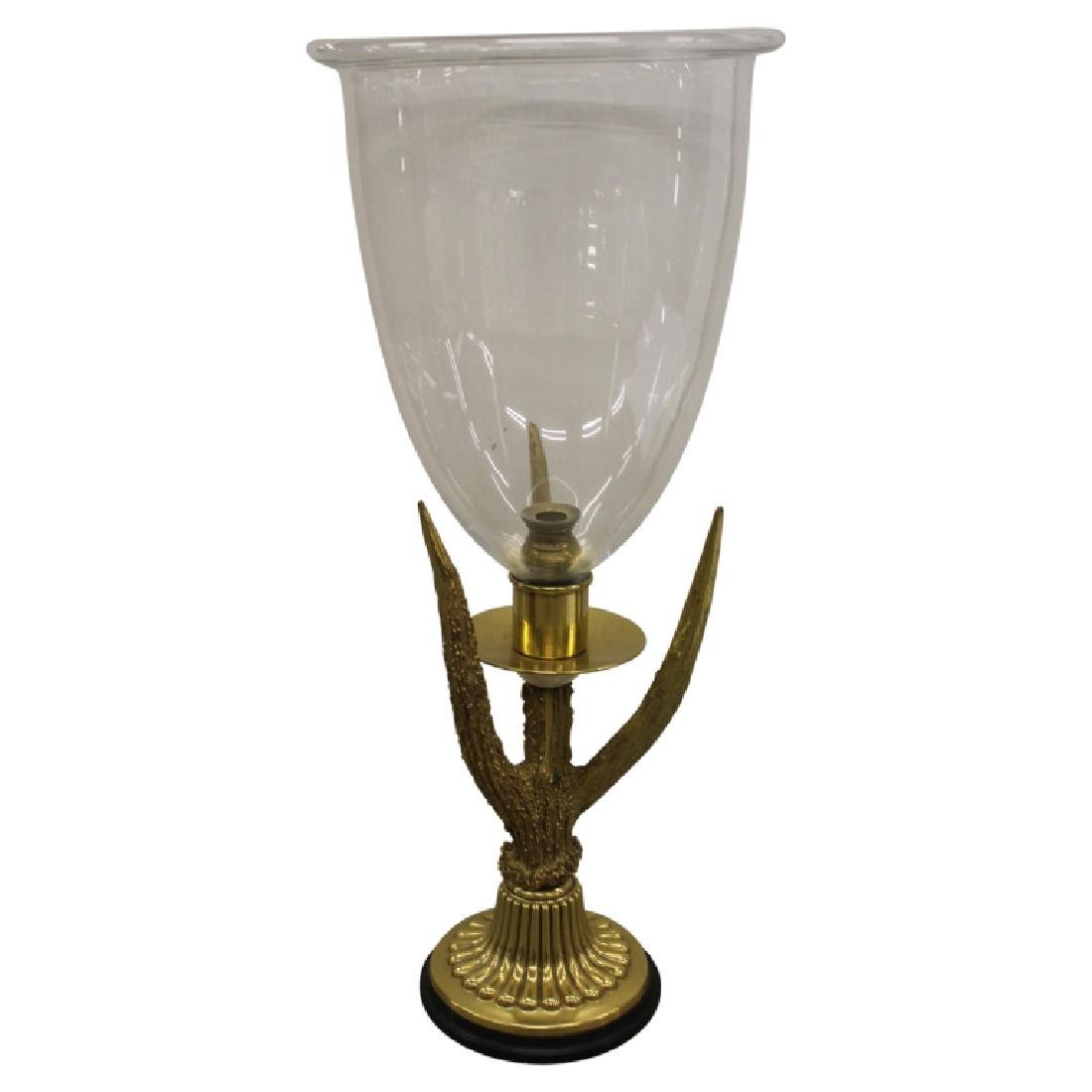 Brass and Glass Candlestick Centerpiece