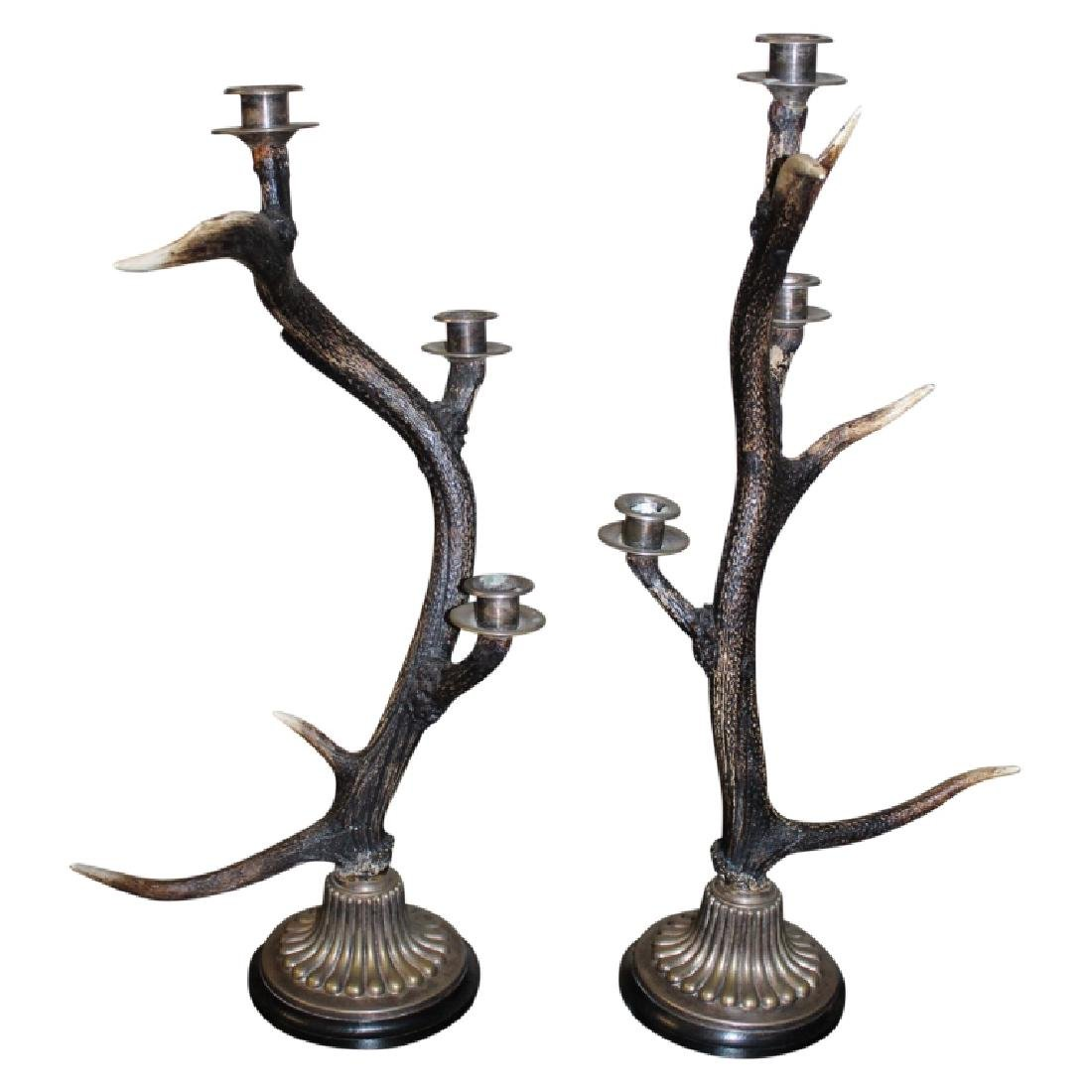Pair of Antler Style Candlesticks w/ Silver Holders