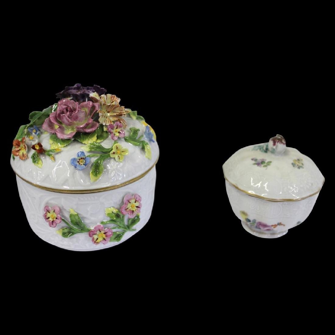 Pair of Dresden Porcelain Bowls with Lids - 2