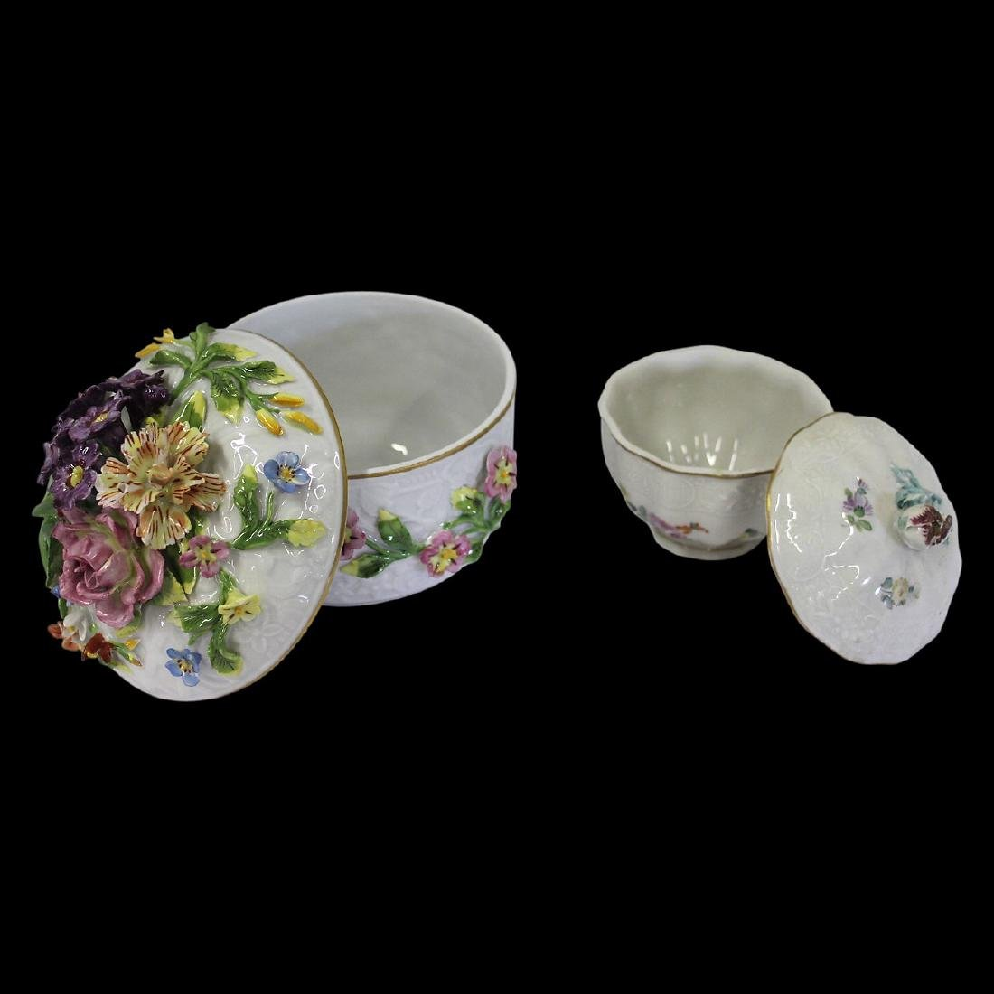 Pair of Dresden Porcelain Bowls with Lids - 3